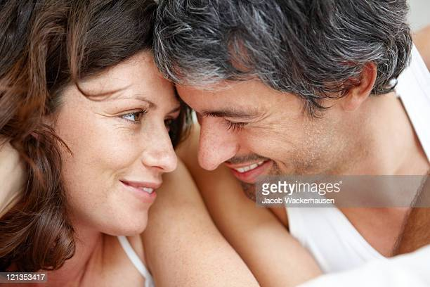 Happy middle aged couple in a romantic mood