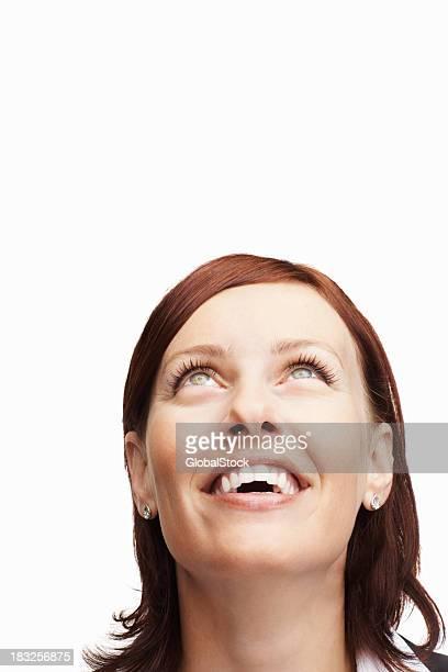 Glückliche mittleren Alter Frau nachschlagen