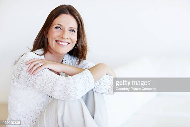 Happy middle-aged woman relaxing