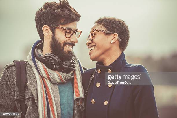 happy mixed race couple
