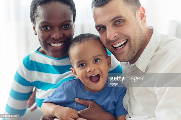 Happy Mixed Race Family Portrait.