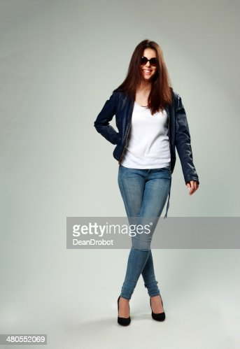 happy model in leather jacket and sunglasse : Stock Photo