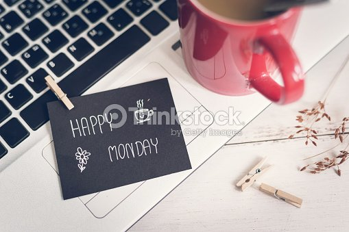 Happy monday massage on notebook with coffee happy monday massage on notebook with coffee voltagebd Gallery