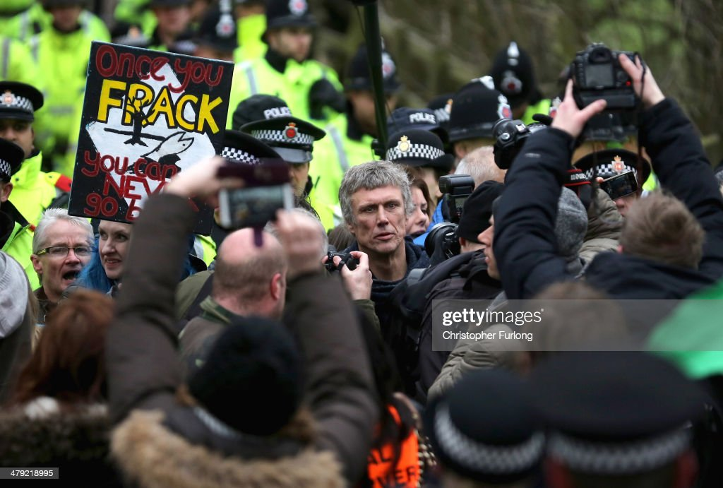 Happy Mondays star Bez joins protesters blocking lorries trying to enter the Barton Moss fracking exploration site March 17 2014 in Barton England...