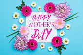 Happy Mother's Day Pastel Candy blue Colours Background. Floral flat lay minimalism greeting card.