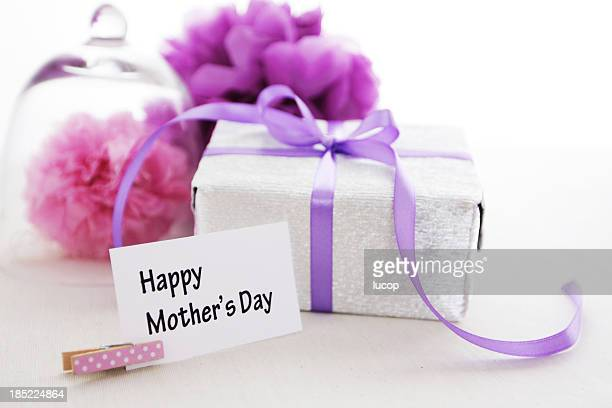 Happy Mothers Day with gift box and paper pom pons