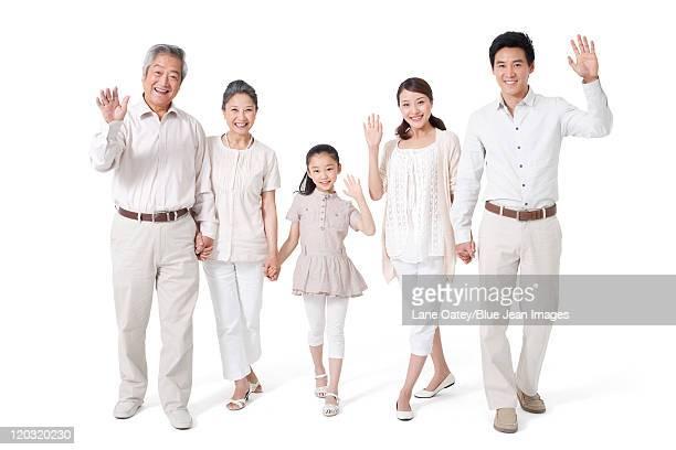 Happy Multi-Generational Family, Studio Shot
