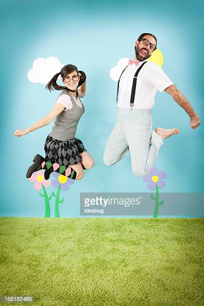 Happy Nerd Couple Jumping with Excitement, in Whimsical World