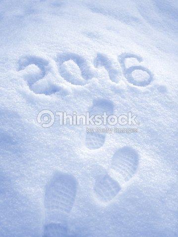 Frohes Neues Jahr 2016 Begrüßung Großen Schritt Muster Im Schnee ...