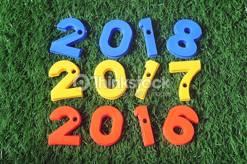 happy new year 2016 nature concept and colorful number idea stock photo