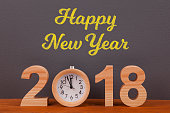 Happy New Year 2018 Concepts with Wooden Clock