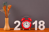 Happy New Year 2018 Countdown Clock with Red Clock