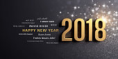 New Year date 2018 colored in gold and greeting words in multiple languages, on a glittering black background - 3D illustration
