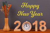 Happy New Year 2018 on Wooden Desk Countdown Clock