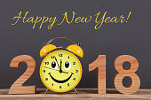 Happy New Year 2018 on Wooden