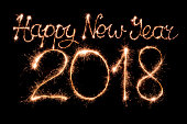 Happy new year 2018 text made from sparklers firework light