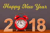 Happy New Year 2018 with Red Clock