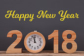 Happy New Year 2018 with Wooden Clock on Desk