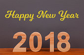 Happy New Year 2018 with Wooden Numbers