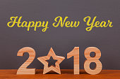 Happy New Year 2018 with Wooden Star
