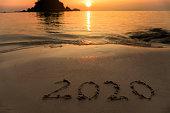 Happy New Year 2020 on Beach