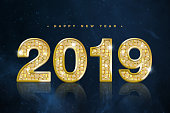 Happy New Year Banner with Gold 2019 Numbers on Starry outer space background texture
