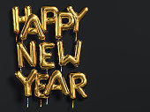 Happy New Year gold text on black background, golden foil balloon typography, 3d rendering