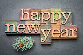 Happy New Year - text in letterpress wood type blocks on a slate stone background with a branch of Colorado silver spruce