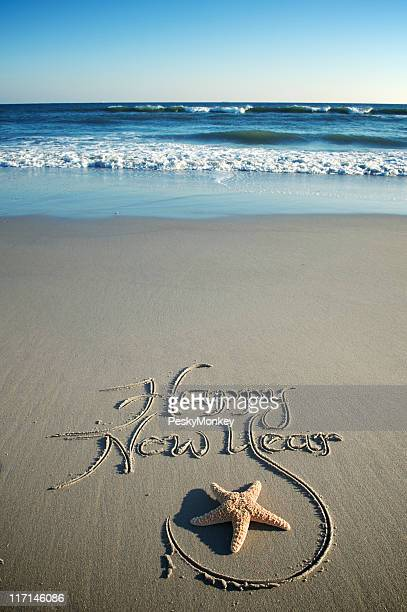 Happy New Year Message w Starfish on Smooth Beach