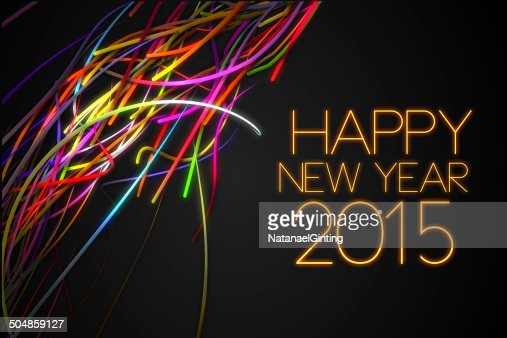 Happy New Year Strands Line Glow Dark Background : Stock Photo