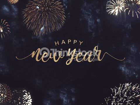 Happy New Year Text with Gold Fireworks in Night Sky : Stock Photo