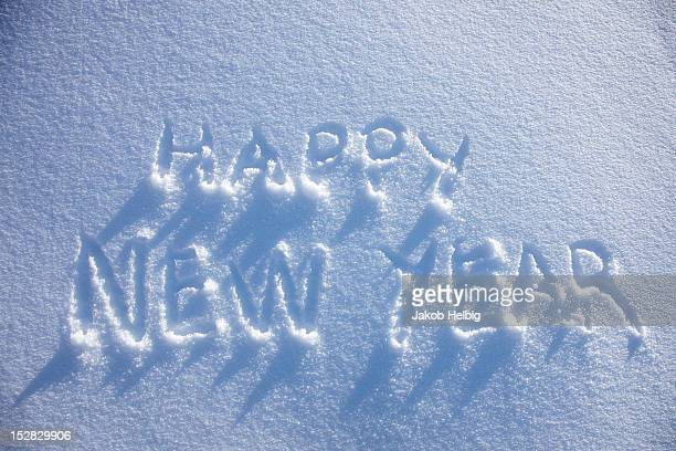 Happy New Year written in snow