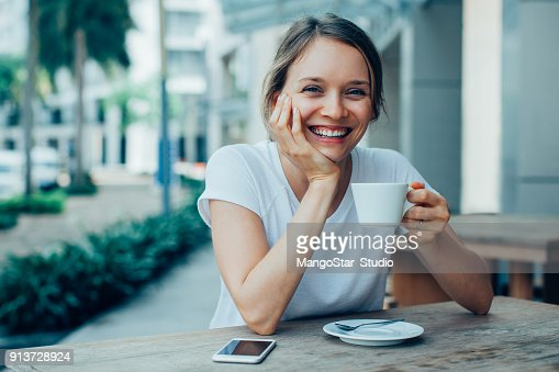 Happy Nice Lady Drinking Coffee in Outdoor Cafe : Stock Photo