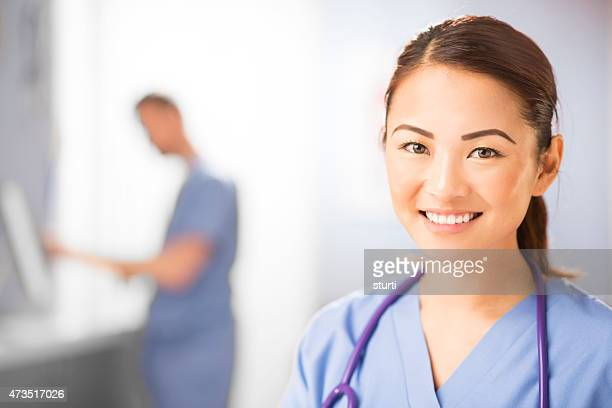happy nurse portrait in hospital clinic