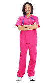 Happy Nurse with arms crossed on White Background