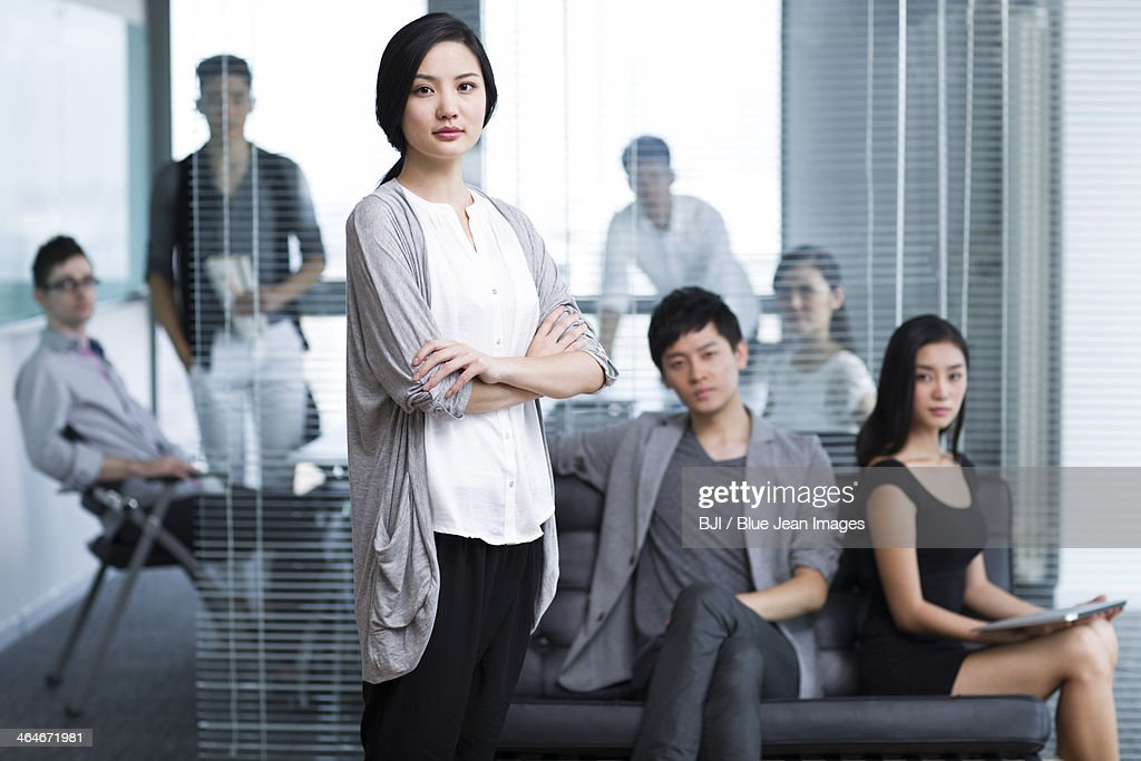 Happy office workers in the company : Stock Photo