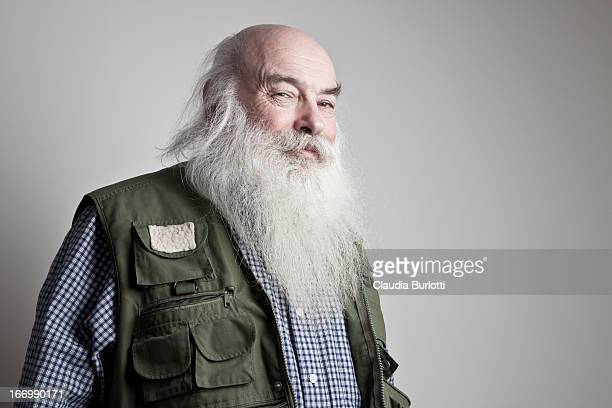 Happy Old Man with Long Beard