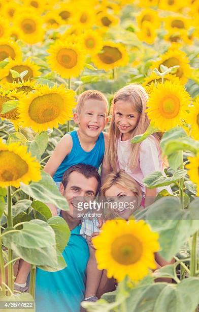 Felizes pais nos ombros as crianças entre sunflowers.