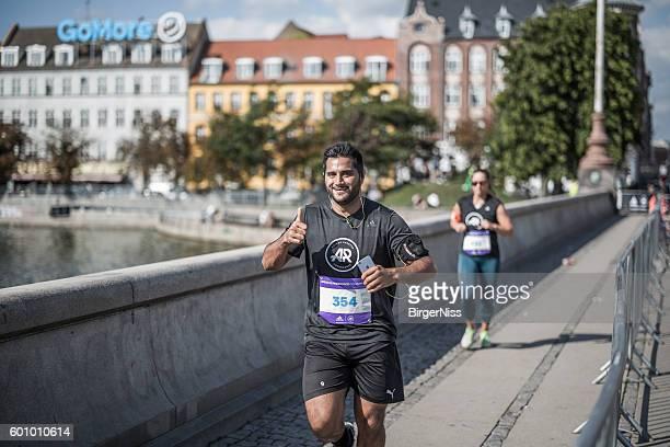 Happy participant in amateur race 2016 in Copenhagen, Denmark