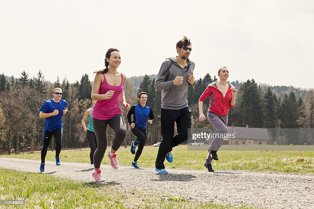 Happy People Running In Mountains