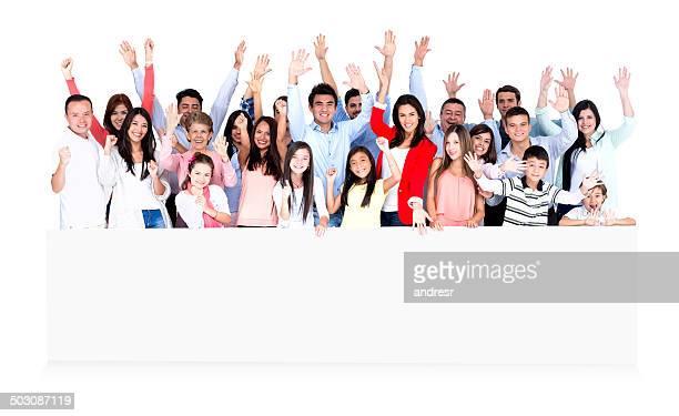 Glückliche Menschen mit banner
