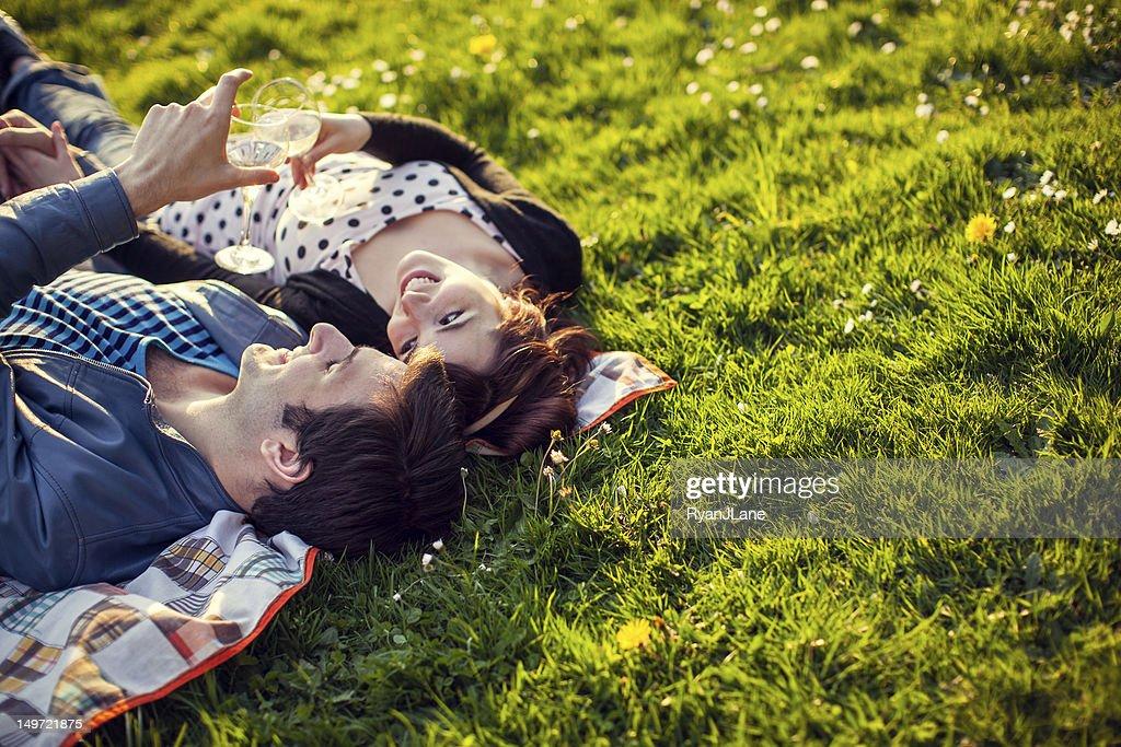 Happy Picnic Couple with Wine Glasses : Stock Photo