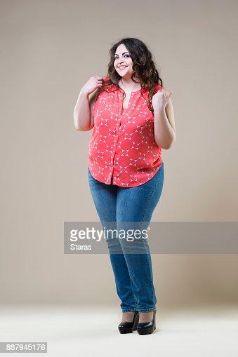 Grosse Femme Sexy Photo mannequin taille plus heureux sexy grosse femme sur fond beige photo