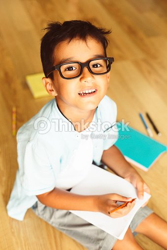 abb23c42002b Happy preschool boy with eye glasses smiling, having quality time : Stock  Photo