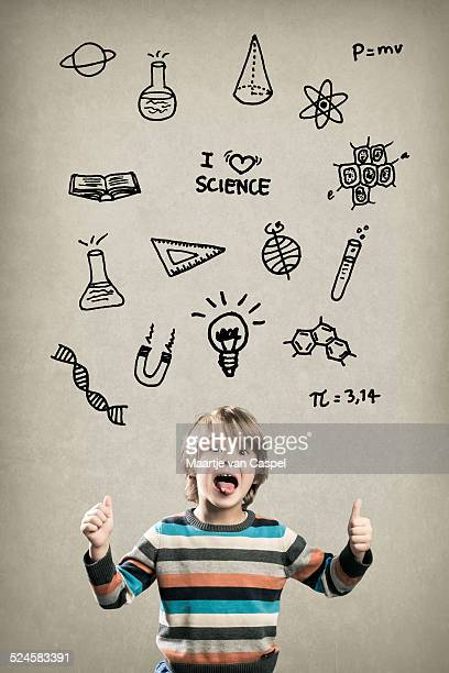 Happy Preschool Boy, with Science Doodles
