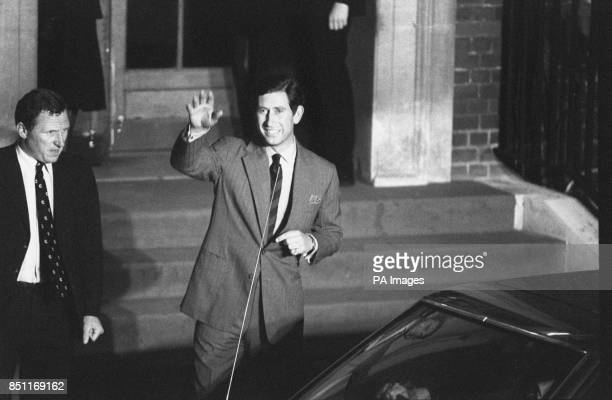 A happy Prince Charles waving to the crowds as he leaves St Mary's Hospital Paddington London after the Princess of Wales gave birth to their first...