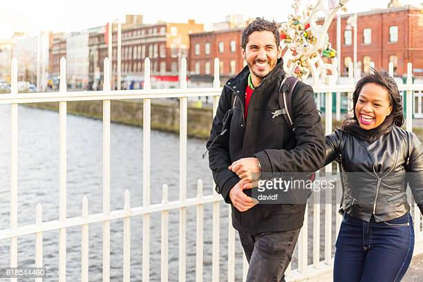 Happy Romantic Couple Enjoying Dublin Ireland Holiday