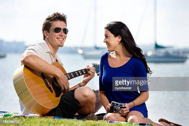 happy romantic young couple