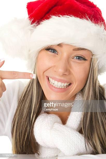 happy santa pointant à sourire