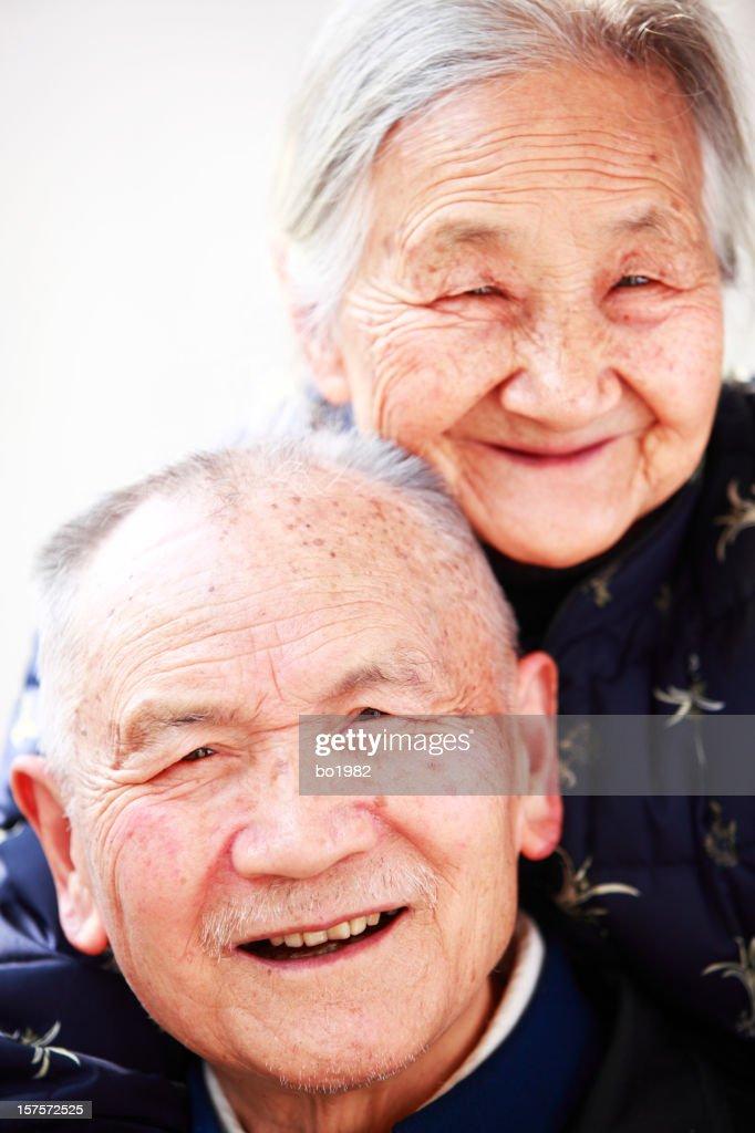 happy senior Chinese couple : Stock Photo